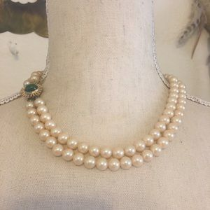 Antique 40s double strand glass pearl necklace